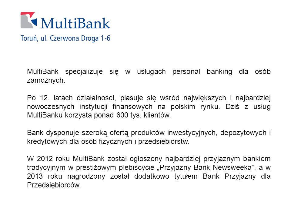 MultiBank specjalizuje się w usługach personal banking dla osób zamożnych. Po 12. latach działalności, plasuje się wśród największych i najbardziej no