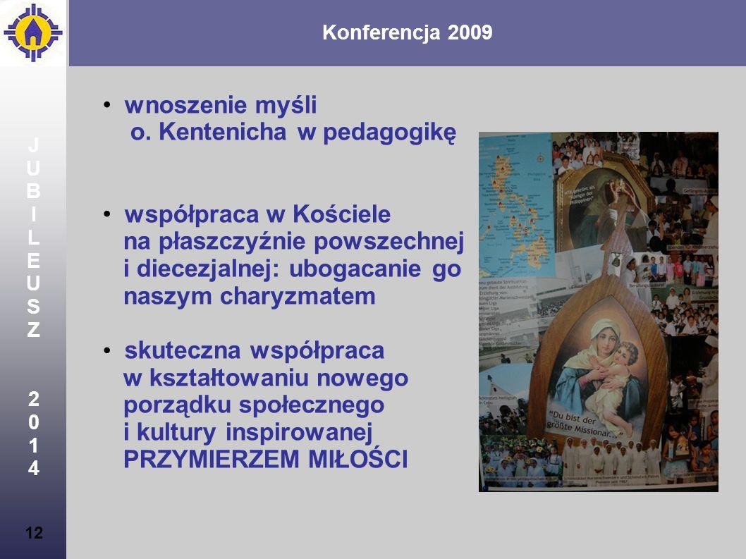 Konferencja 2009 12 JUBILEUSZ2014JUBILEUSZ2014 wnoszenie myśli o. Kentenicha w pedagogikę współpraca w Kościele na płaszczyźnie powszechnej i diecezja