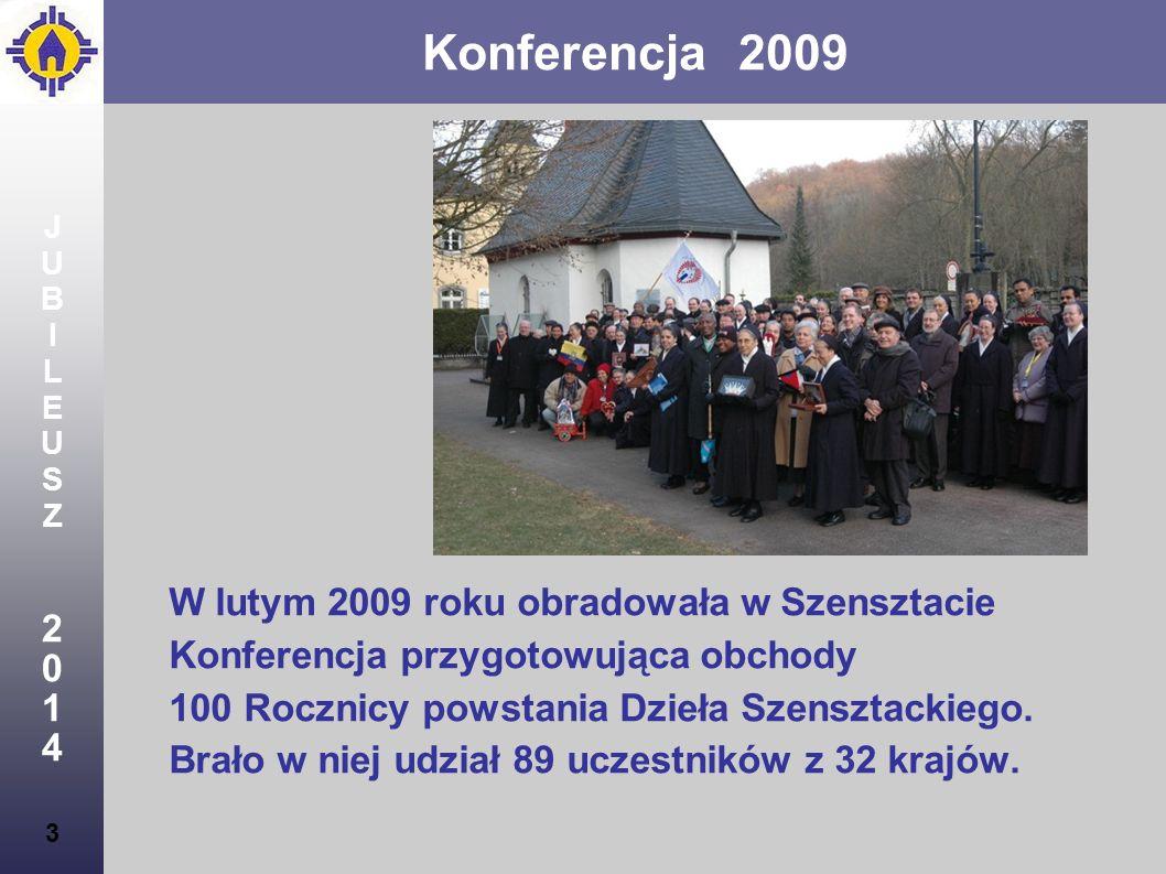 4 JUBILEUSZ2014JUBILEUSZ2014 Konferencja 2009 4 Celem Konferencji było wspólne dzielenie się życiem w przymierzu miłości oraz wypracowanie przesłania - wskazówek na czas przygotowań do Jubileuszu, który ma poprzedzać Jubileuszowe Świętowanie