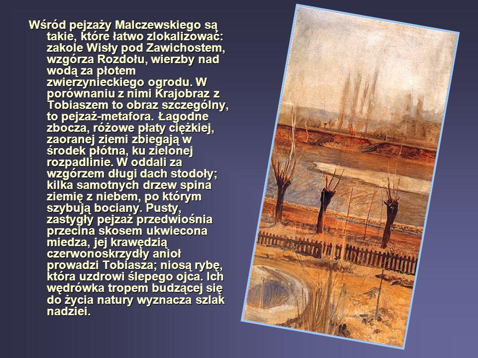 Wśród pejzaży Malczewskiego są takie, które łatwo zlokalizować: zakole Wisły pod Zawichostem, wzgórza Rozdołu, wierzby nad wodą za płotem zwierzynieck