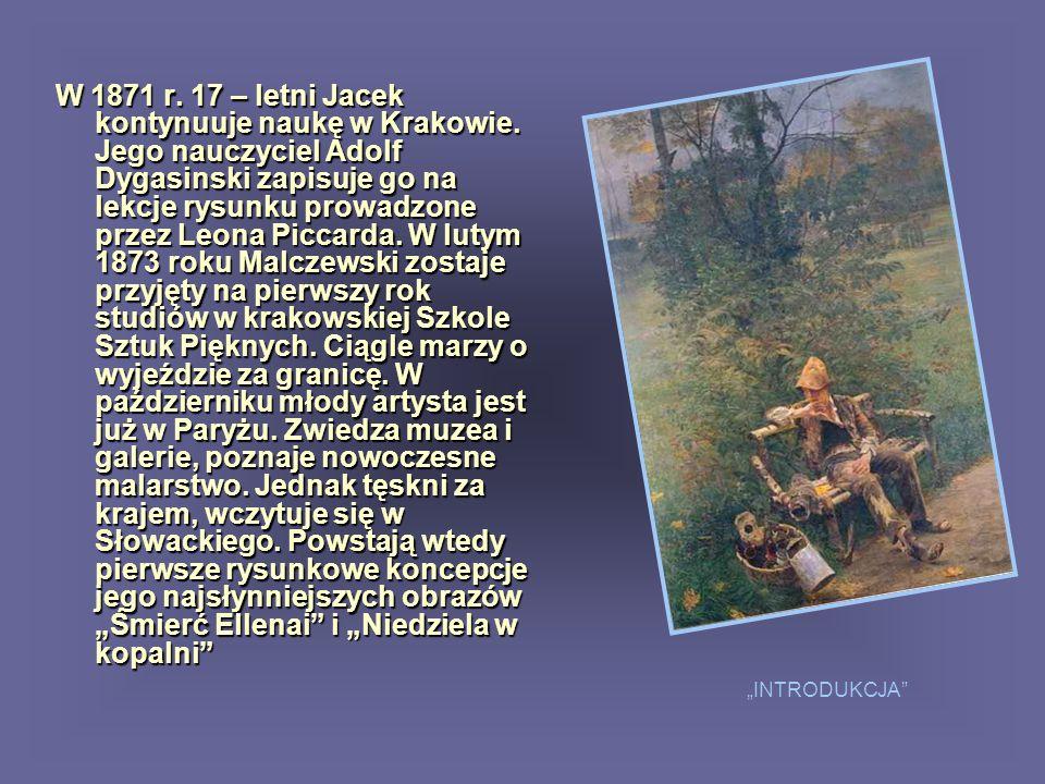 Po prawej stara, siwa Polonia, przepasana kontuszem, w zbożowym wieńcu i koronie piastowskiej na głowie, wyciąga skute dłonie.