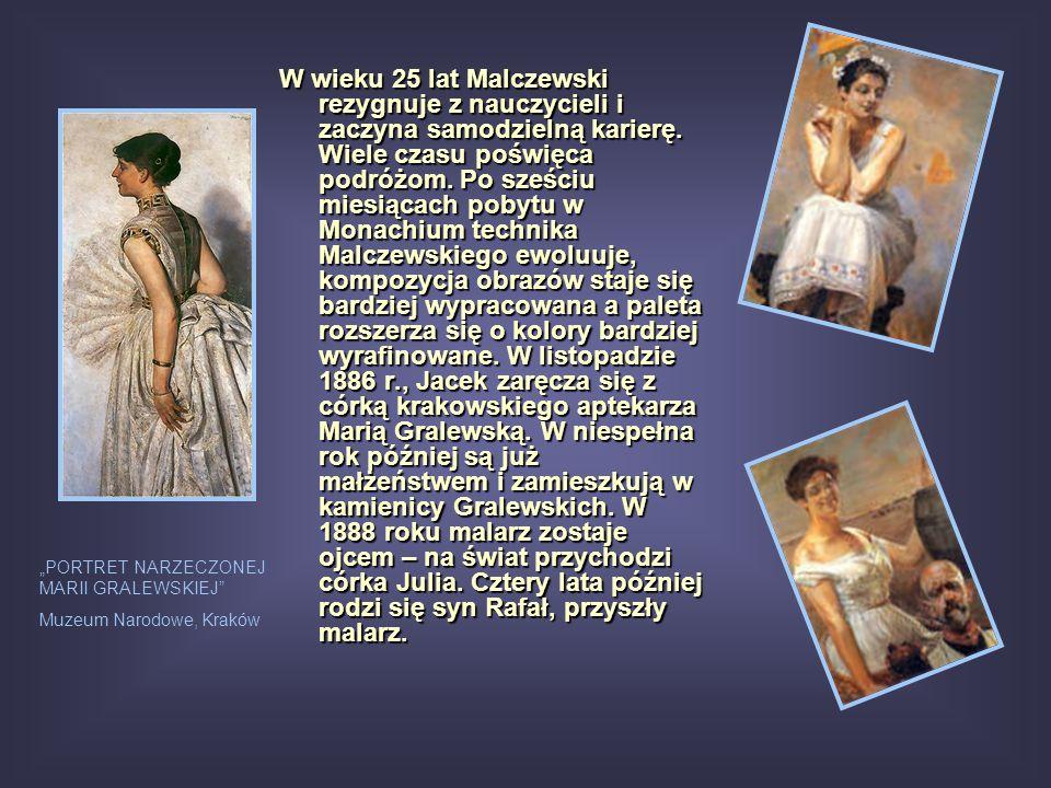 W wieku 25 lat Malczewski rezygnuje z nauczycieli i zaczyna samodzielną karierę. Wiele czasu poświęca podróżom. Po sześciu miesiącach pobytu w Monachi