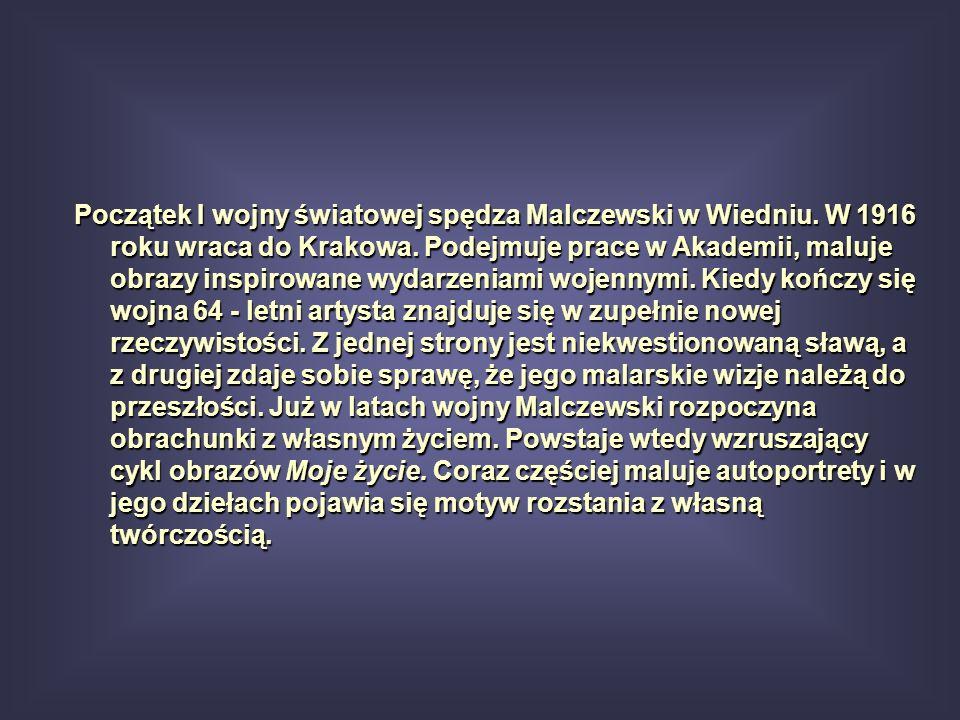 W 1921 roku Malczewski ustępuje z funkcji profesora krakowskiej Akademii Sztuk Pięknych.