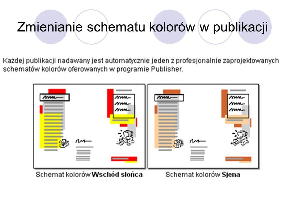 Zmienianie schematu kolorów w publikacji