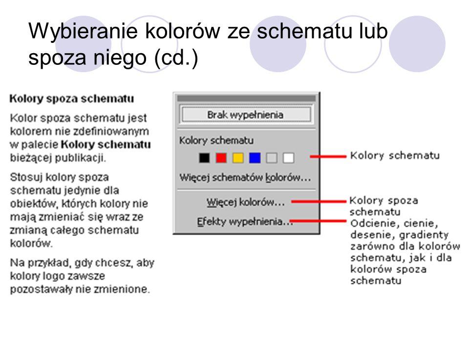 Wybieranie kolorów ze schematu lub spoza niego (cd.)