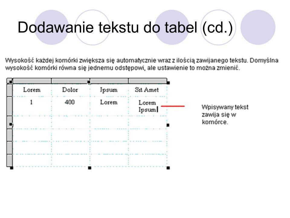 Dodawanie tekstu do tabel (cd.)