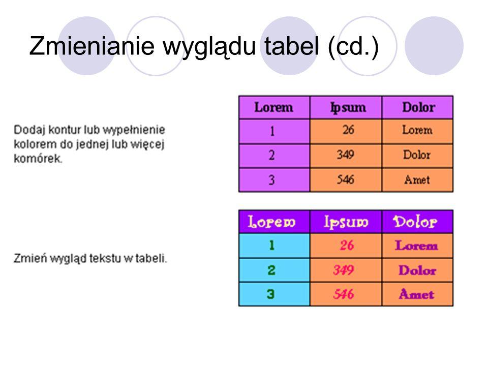 Zmienianie wyglądu tabel (cd.)