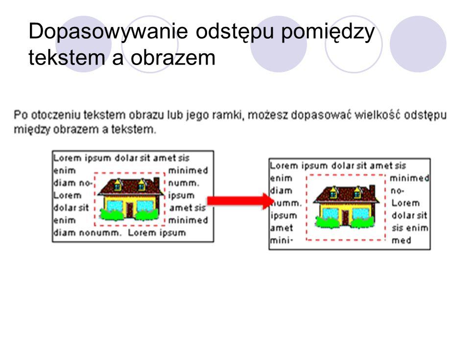 Dopasowywanie odstępu pomiędzy tekstem a obrazem