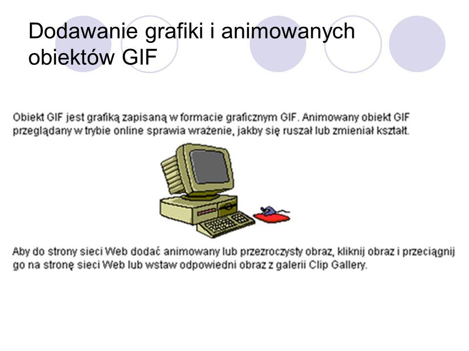 Dodawanie grafiki i animowanych obiektów GIF