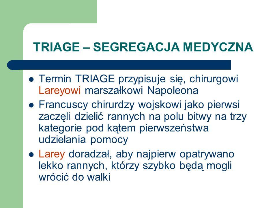 TRIAGE – SEGREGACJA MEDYCZNA Termin TRIAGE przypisuje się, chirurgowi Lareyowi marszałkowi Napoleona Francuscy chirurdzy wojskowi jako pierwsi zaczęli