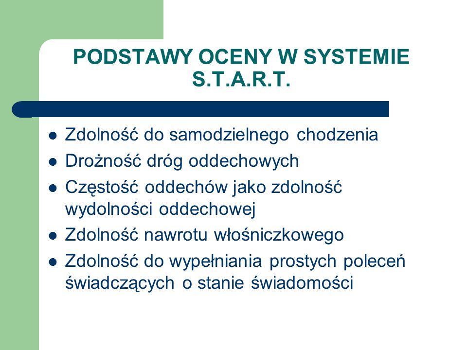 PODSTAWY OCENY W SYSTEMIE S.T.A.R.T. Zdolność do samodzielnego chodzenia Drożność dróg oddechowych Częstość oddechów jako zdolność wydolności oddechow