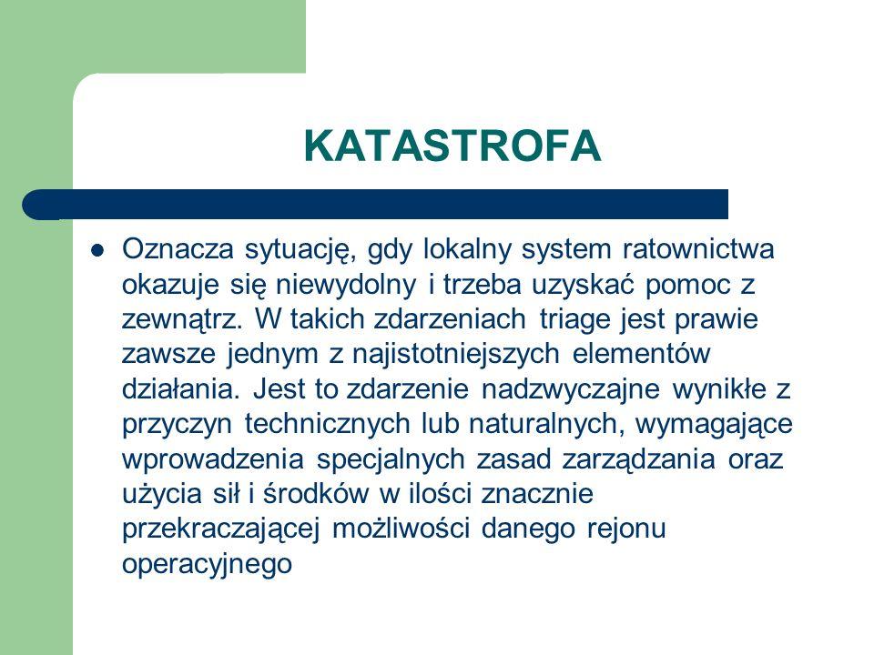 KATASTROFA Oznacza sytuację, gdy lokalny system ratownictwa okazuje się niewydolny i trzeba uzyskać pomoc z zewnątrz. W takich zdarzeniach triage jest