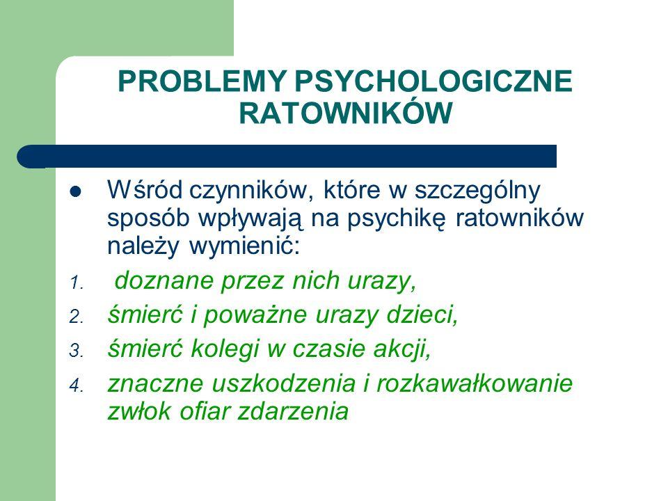 PROBLEMY PSYCHOLOGICZNE RATOWNIKÓW Wśród czynników, które w szczególny sposób wpływają na psychikę ratowników należy wymienić: 1. doznane przez nich u