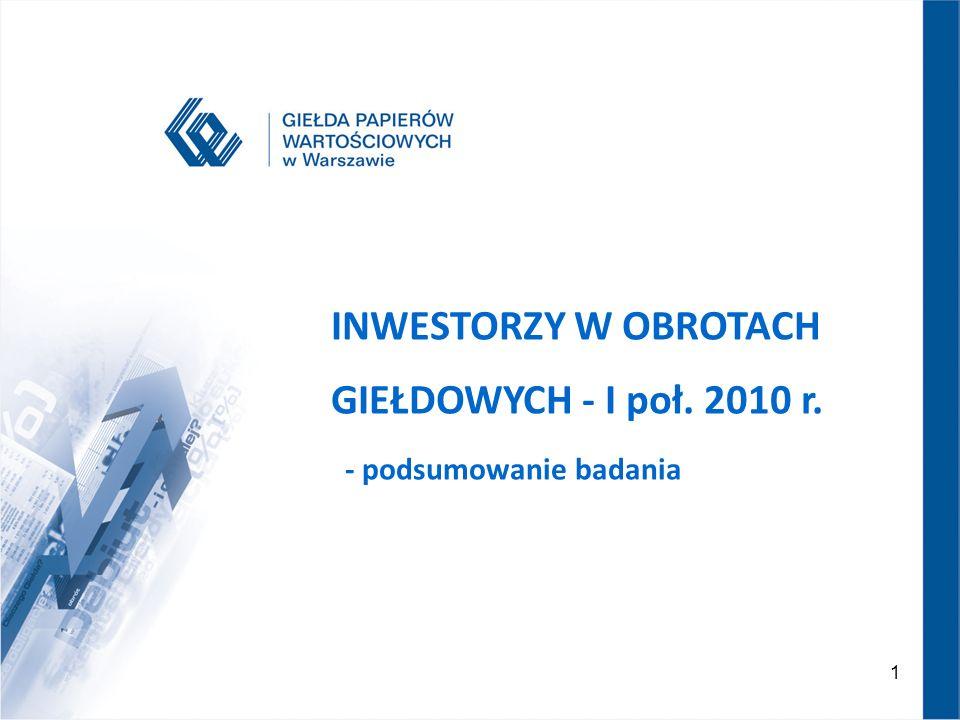 1 GPW 2007 – NOWA JAKOŚĆ INWESTORZY W OBROTACH GIEŁDOWYCH - I poł. 2010 r. - podsumowanie badania