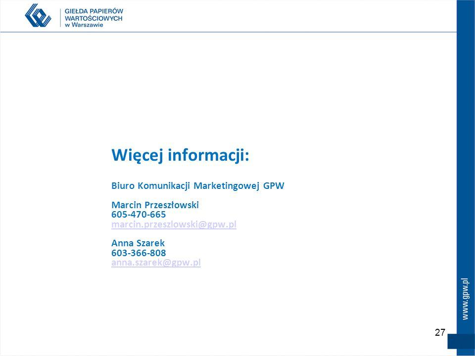 27 Więcej informacji: Biuro Komunikacji Marketingowej GPW Marcin Przeszłowski 605-470-665 marcin.przeszlowski@gpw.pl Anna Szarek 603-366-808 anna.szarek@gpw.pl