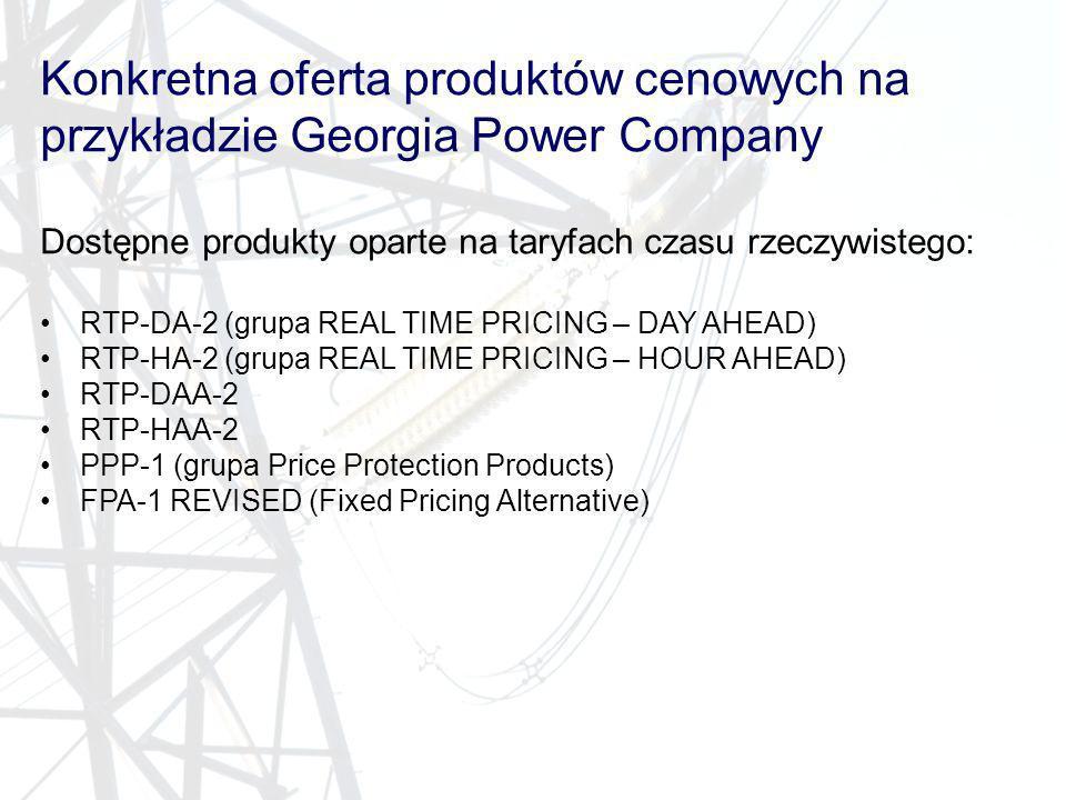 Konkretna oferta produktów cenowych na przykładzie Georgia Power Company Dostępne produkty oparte na taryfach czasu rzeczywistego: RTP-DA-2 (grupa REA