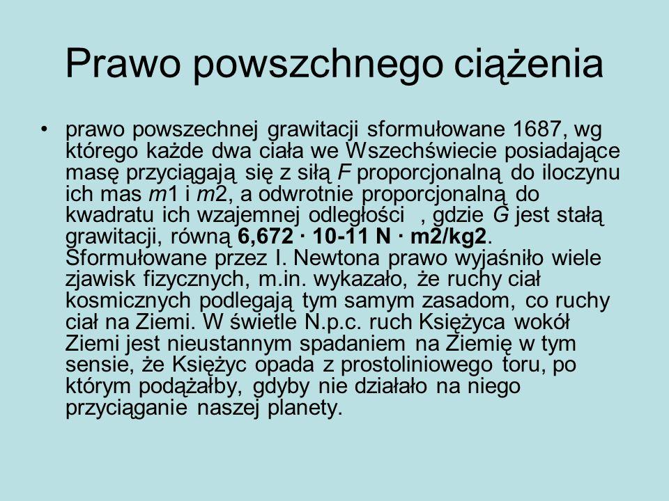 Prawo powszchnego ciążenia prawo powszechnej grawitacji sformułowane 1687, wg którego każde dwa ciała we Wszechświecie posiadające masę przyciągają si