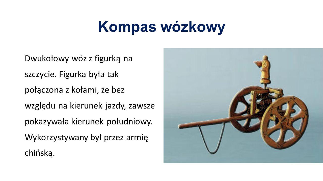 Kompas wózkowy Dwukołowy wóz z figurką na szczycie. Figurka była tak połączona z kołami, że bez względu na kierunek jazdy, zawsze pokazywała kierunek