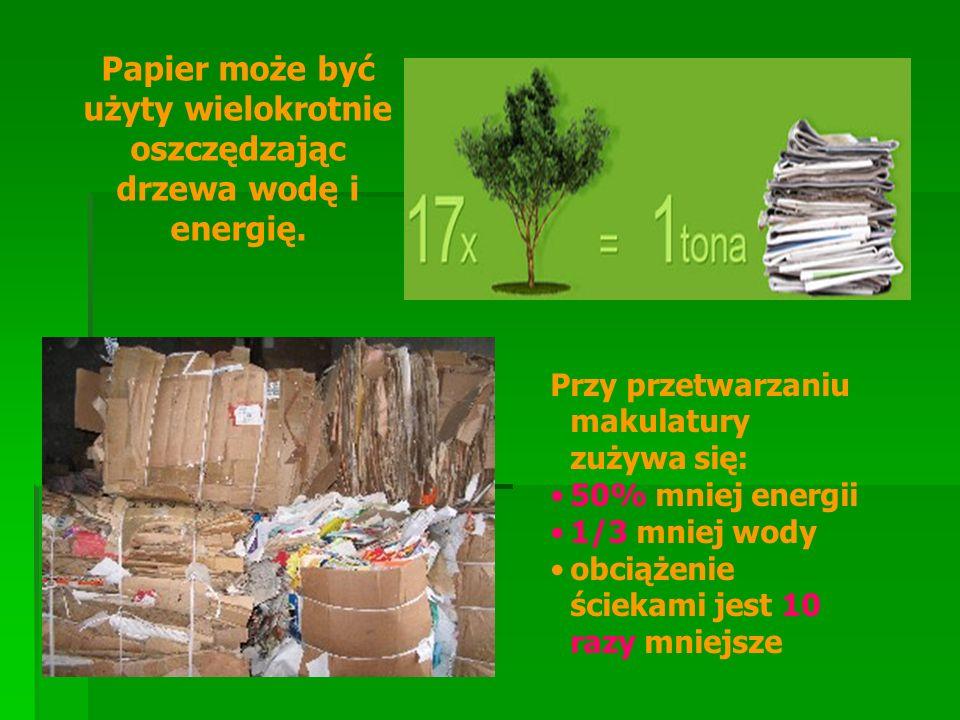 Papier może być użyty wielokrotnie oszczędzając drzewa wodę i energię. Przy przetwarzaniu makulatury zużywa się: 50% mniej energii 1/3 mniej wody obci