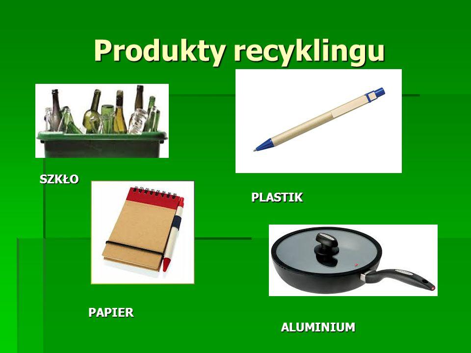 Produkty recyklingu SZKŁO PAPIER PLASTIK ALUMINIUM