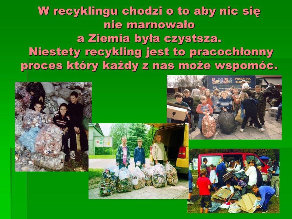 W recyklingu chodzi o to aby nic się nie marnowało a Ziemia była czystsza. Niestety recykling jest to pracochłonny proces który każdy z nas może wspom