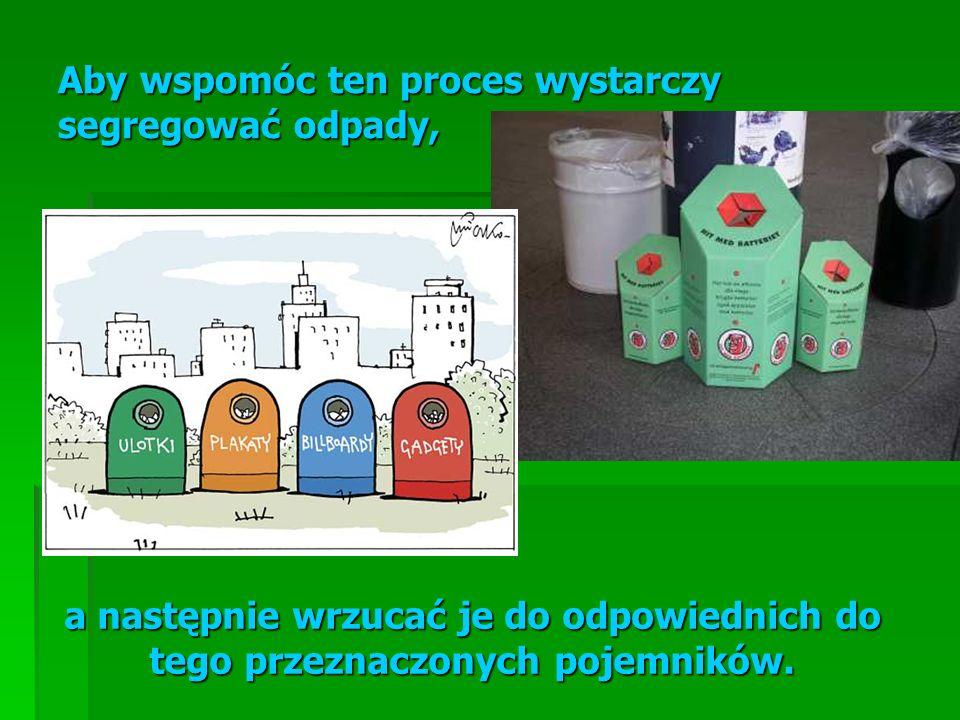 Aby wspomóc ten proces wystarczy segregować odpady, a następnie wrzucać je do odpowiednich do tego przeznaczonych pojemników.