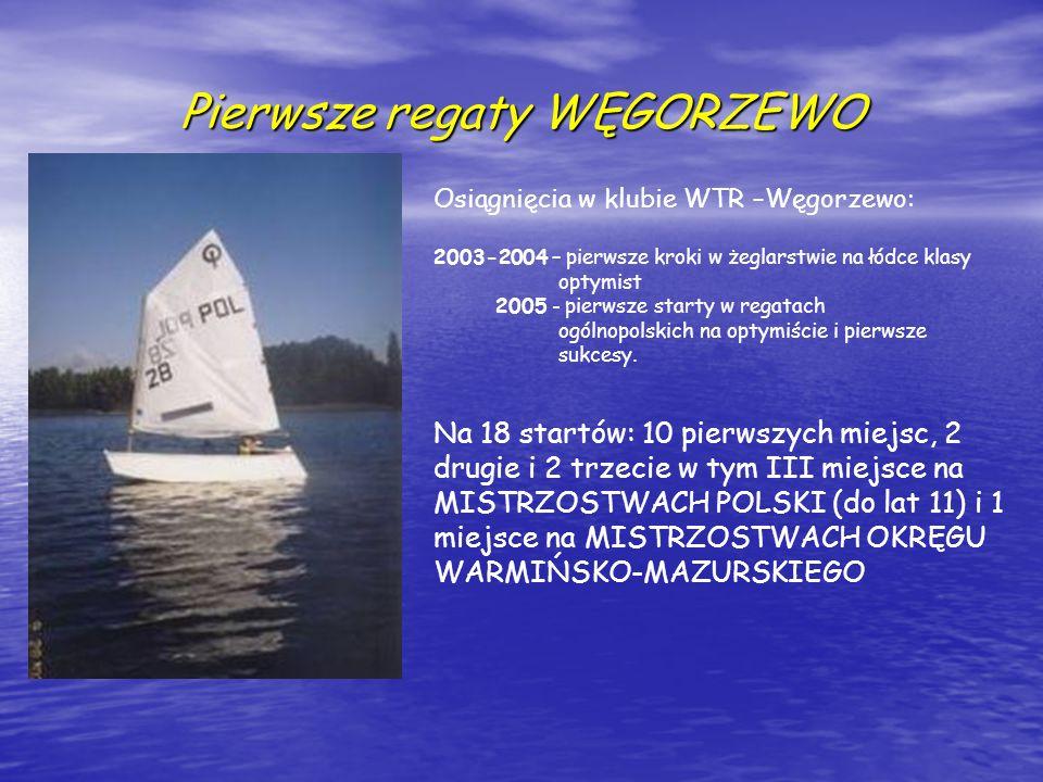 Pierwsze regaty WĘGORZEWO Osiągnięcia w klubie WTR –Węgorzewo: 2003-2004 – pierwsze kroki w żeglarstwie na łódce klasy optymist 2005 - pierwsze starty