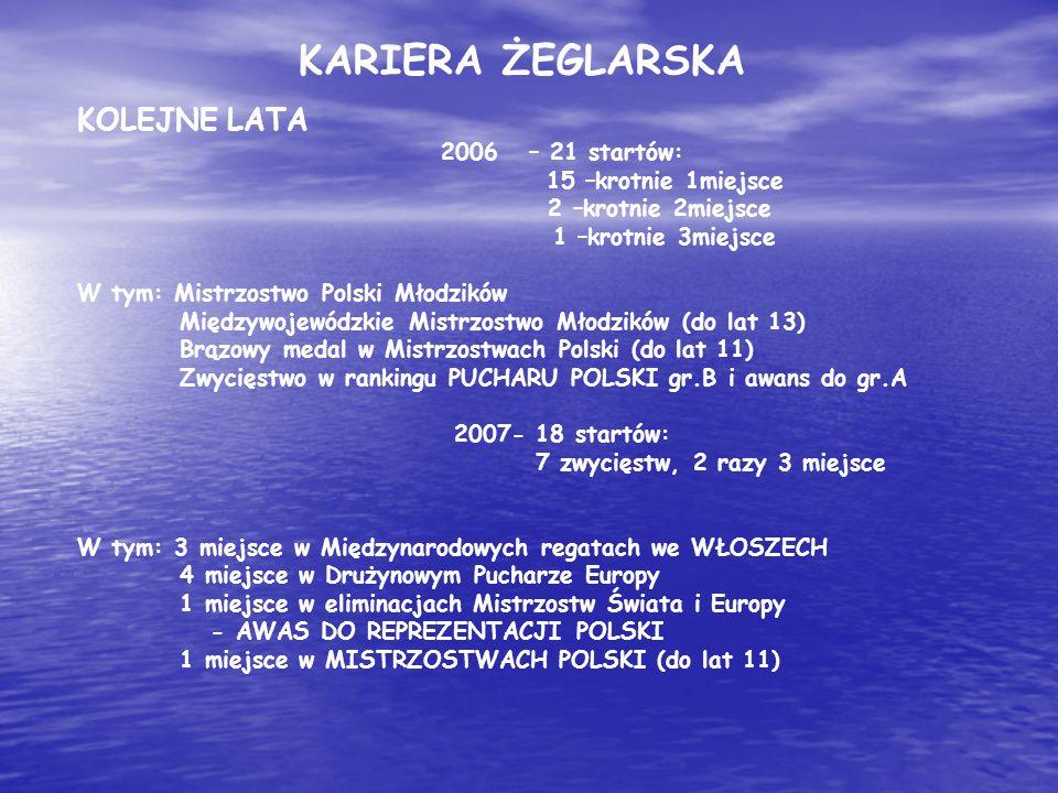 KOLEJNE LATA 2006 – 21 startów: 15 –krotnie 1miejsce 2 –krotnie 2miejsce 1 –krotnie 3miejsce W tym: Mistrzostwo Polski Młodzików Międzywojewódzkie Mis