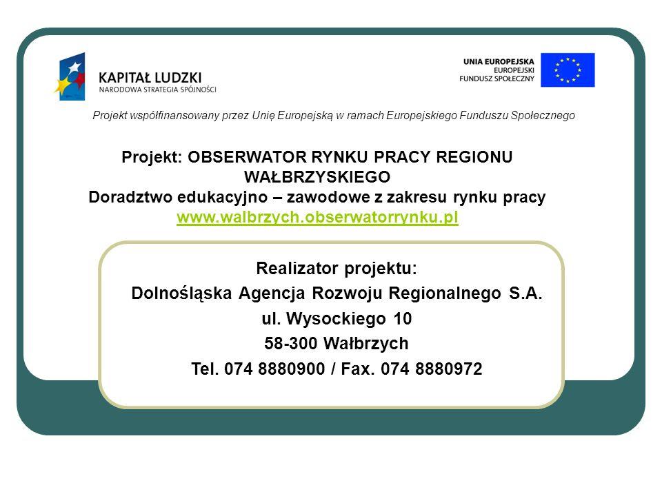Projekt współfinansowany przez Unię Europejską w ramach Europejskiego Funduszu Społecznego Realizator projektu: Dolnośląska Agencja Rozwoju Regionalne