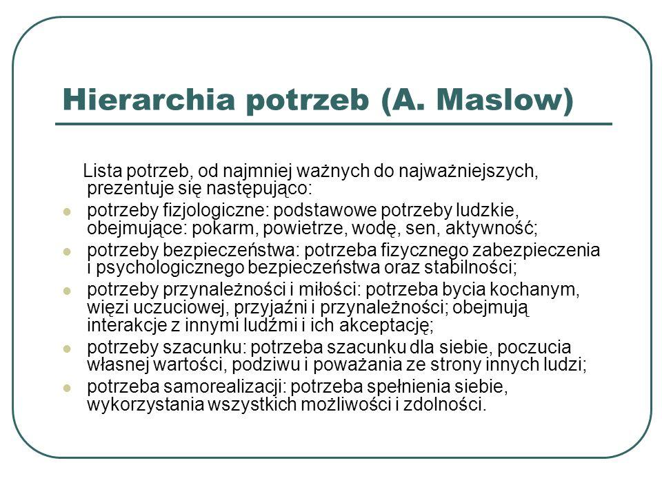 Hierarchia potrzeb (A. Maslow) Lista potrzeb, od najmniej ważnych do najważniejszych, prezentuje się następująco: potrzeby fizjologiczne: podstawowe p