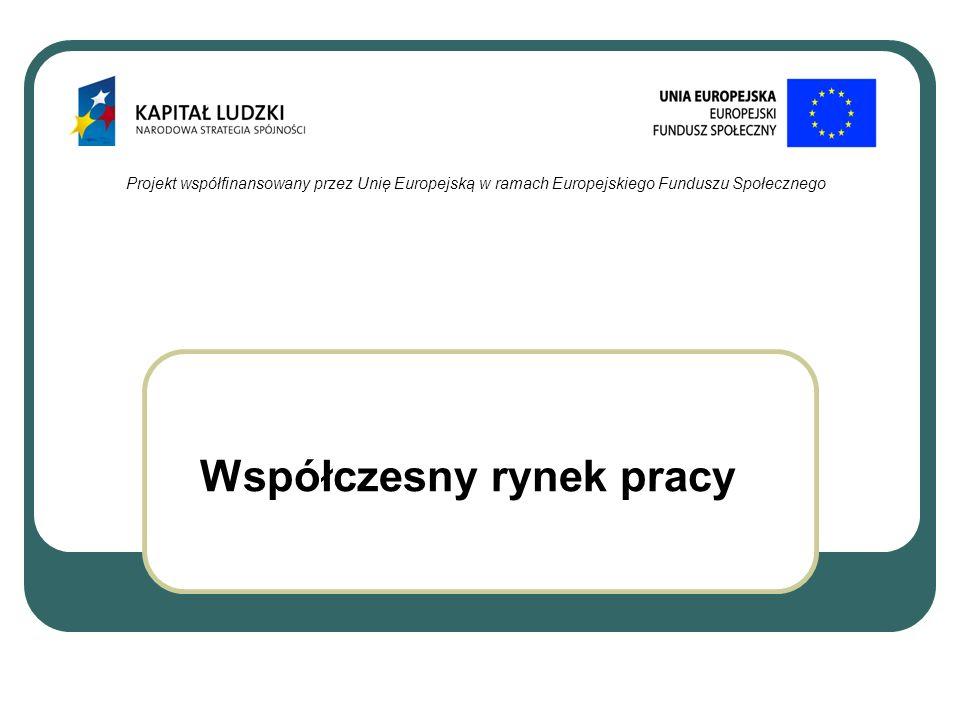 Współczesny rynek pracy Projekt współfinansowany przez Unię Europejską w ramach Europejskiego Funduszu Społecznego