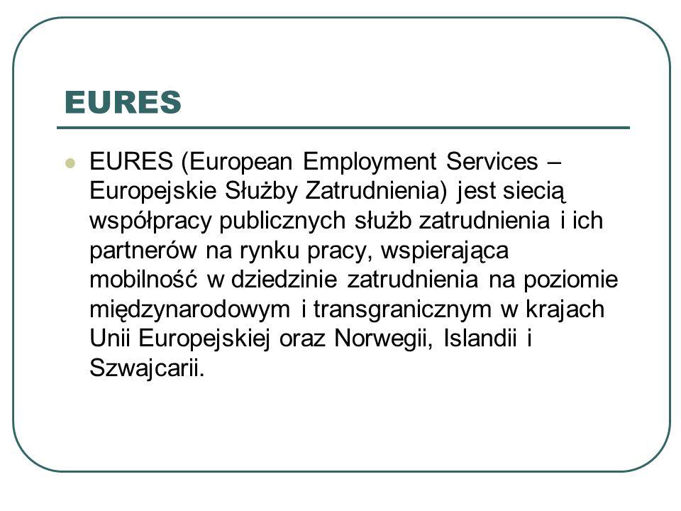 EURES EURES (European Employment Services – Europejskie Służby Zatrudnienia) jest siecią współpracy publicznych służb zatrudnienia i ich partnerów na