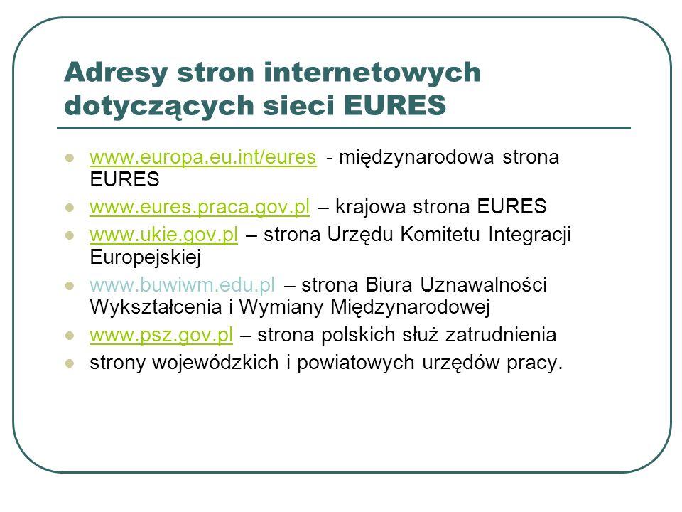 Adresy stron internetowych dotyczących sieci EURES www.europa.eu.int/eures - międzynarodowa strona EURES www.europa.eu.int/eures www.eures.praca.gov.p