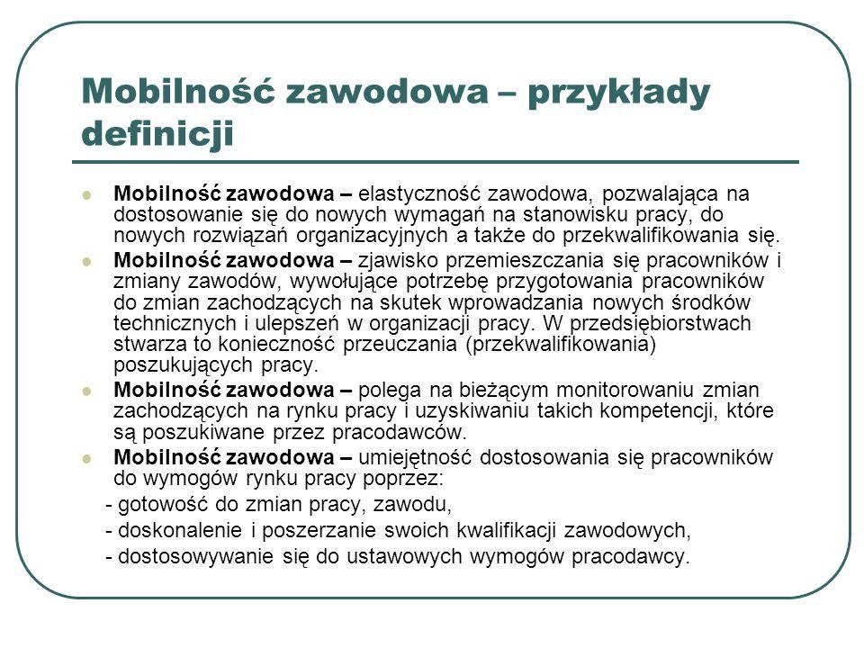 Mobilność zawodowa – przykłady definicji Mobilność zawodowa – elastyczność zawodowa, pozwalająca na dostosowanie się do nowych wymagań na stanowisku p