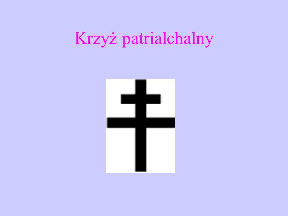 Krzyż prawosławny - znajdują się na min trzy belki poprzeczne: górna - oznacza tabliczkę z napisem, który do krzyża kazał przybić Piłat, wskazującym n