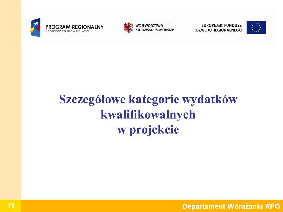 11 Departament Wdrażania RPO Szczegółowe kategorie wydatków kwalifikowalnych w projekcie