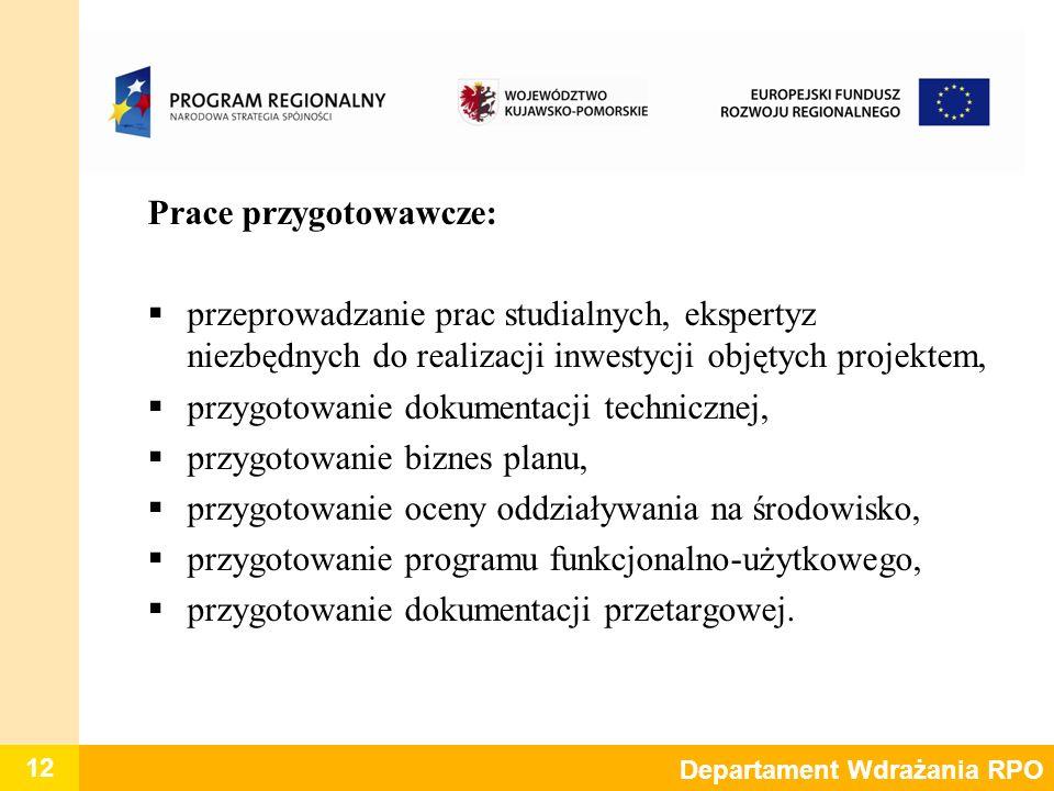 12 Departament Wdrażania RPO Prace przygotowawcze: przeprowadzanie prac studialnych, ekspertyz niezbędnych do realizacji inwestycji objętych projektem