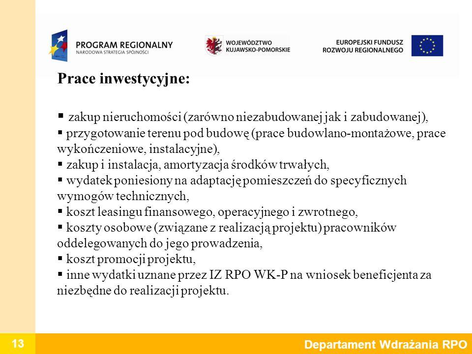 13 Departament Wdrażania RPO Prace inwestycyjne: zakup nieruchomości (zarówno niezabudowanej jak i zabudowanej), przygotowanie terenu pod budowę (prac