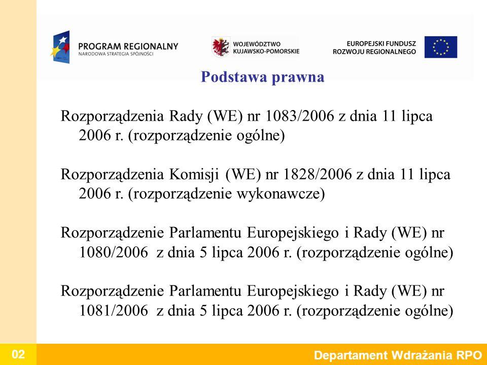 02 Departament Wdrażania RPO Podstawa prawna Rozporządzenia Rady (WE) nr 1083/2006 z dnia 11 lipca 2006 r. (rozporządzenie ogólne) Rozporządzenia Komi