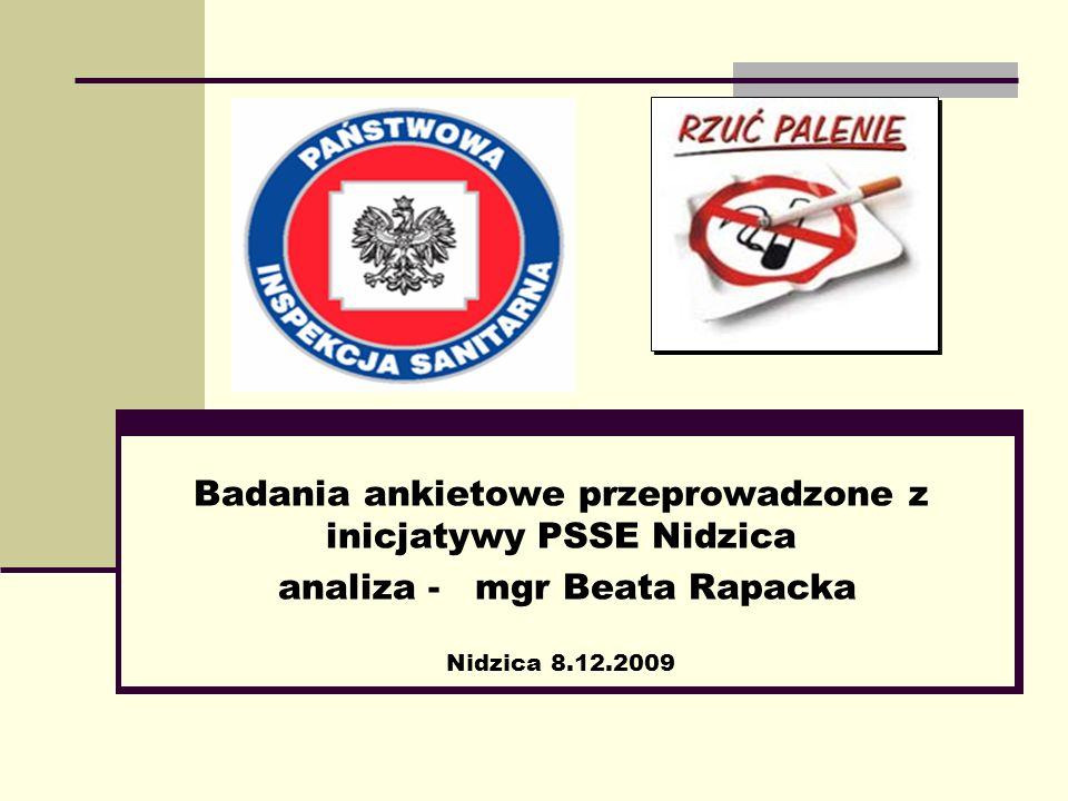 Badania ankietowe przeprowadzone z inicjatywy PSSE Nidzica analiza - mgr Beata Rapacka Nidzica 8.12.2009
