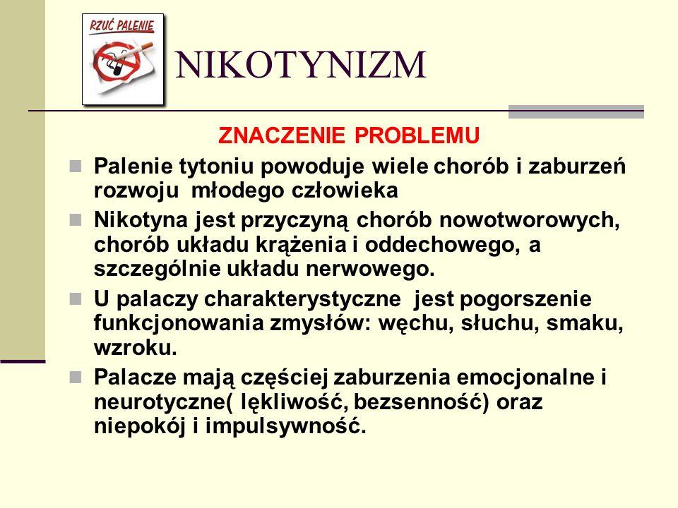 NIKOTYNIZM ZNACZENIE PROBLEMU Palenie tytoniu powoduje wiele chorób i zaburzeń rozwoju młodego człowieka Nikotyna jest przyczyną chorób nowotworowych,