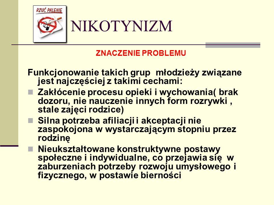 NIKOTYNIZM ZNACZENIE PROBLEMU Funkcjonowanie takich grup młodzieży związane jest najczęściej z takimi cechami: Zakłócenie procesu opieki i wychowania(