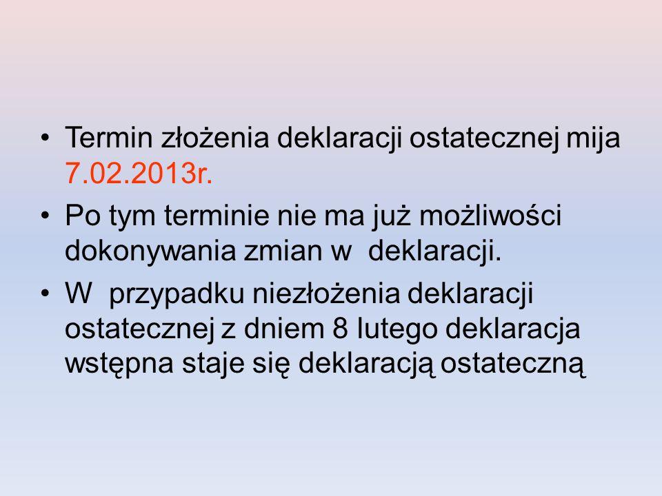 Termin złożenia deklaracji ostatecznej mija 7.02.2013r.
