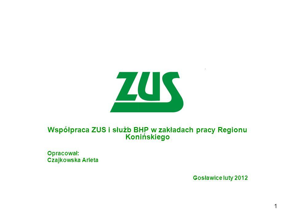 1 Współpraca ZUS i służb BHP w zakładach pracy Regionu Konińskiego Opracował: Czajkowska Arleta Gosławice luty 2012