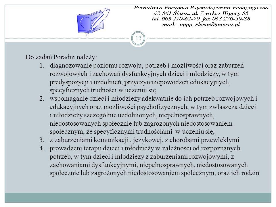 15 Do zadań Poradni należy: 1.diagnozowanie poziomu rozwoju, potrzeb i możliwości oraz zaburzeń rozwojowych i zachowań dysfunkcyjnych dzieci i młodzie