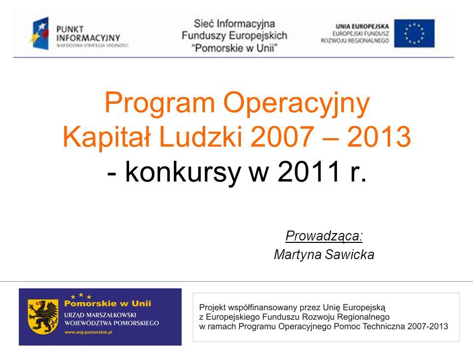 Program Operacyjny Kapitał Ludzki 2007 – 2013 - konkursy w 2011 r. Prowadząca: Martyna Sawicka
