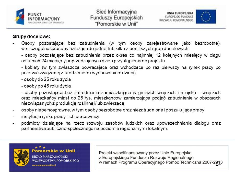 Grupy docelowe: - Osoby pozostające bez zatrudnienia (w tym osoby zarejestrowane jako bezrobotne), w szczególności osoby należące do jednej lub kilku
