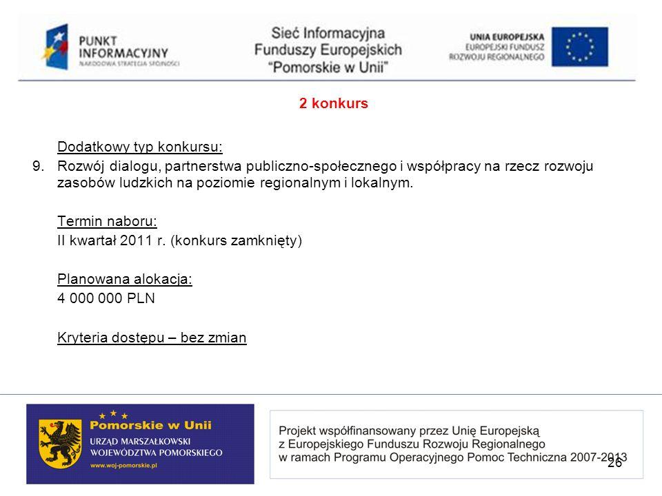 2 konkurs Dodatkowy typ konkursu: 9. Rozwój dialogu, partnerstwa publiczno-społecznego i współpracy na rzecz rozwoju zasobów ludzkich na poziomie regi
