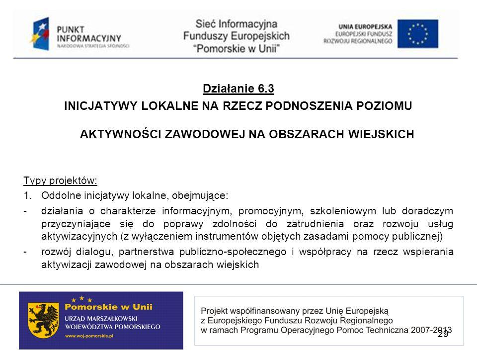 Działanie 6.3 INICJATYWY LOKALNE NA RZECZ PODNOSZENIA POZIOMU AKTYWNOŚCI ZAWODOWEJ NA OBSZARACH WIEJSKICH Typy projektów: 1. Oddolne inicjatywy lokaln