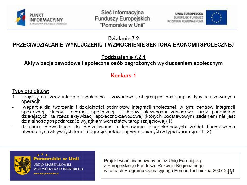 Działanie 7.2 PRZECIWDZIAŁANIE WYKLUCZENIU I WZMOCNIENIE SEKTORA EKONOMII SPOŁECZNEJ Poddziałanie 7.2.1 Aktywizacja zawodowa i społeczna osób zagrożon